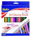 24 x HELIX COLOURING PENCILS - FULL Size Hexagonal Shape, Anti-Break Leads